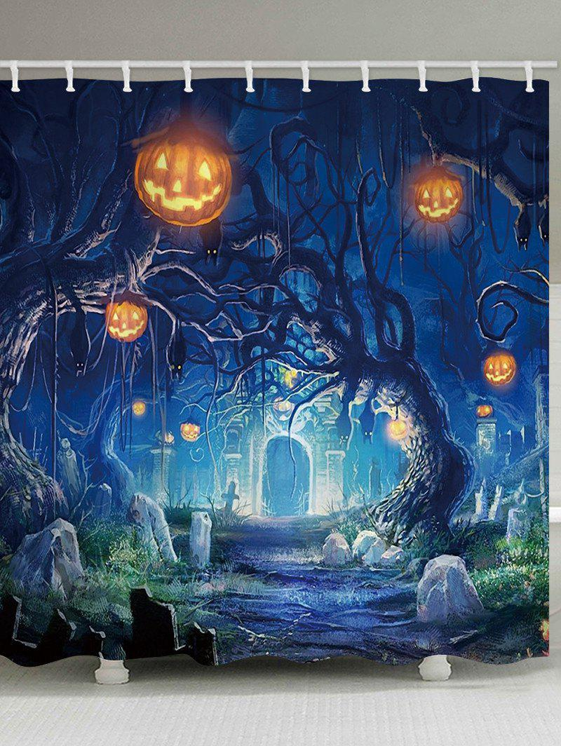 Discount Halloween Cemetery Pumpkin Tree Print Waterproof Bathroom Shower Curtain