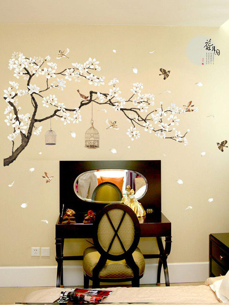 Outfit Flower Tree and Birds Print Decorative Wall Art Stickers