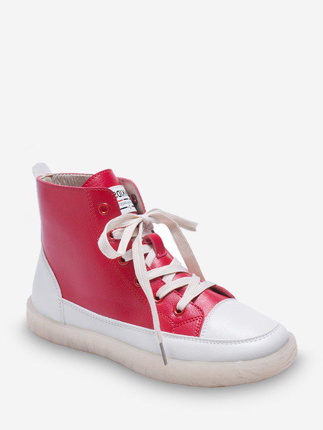 Outfit Contrast Color PU Leather High Top Casual Shoes