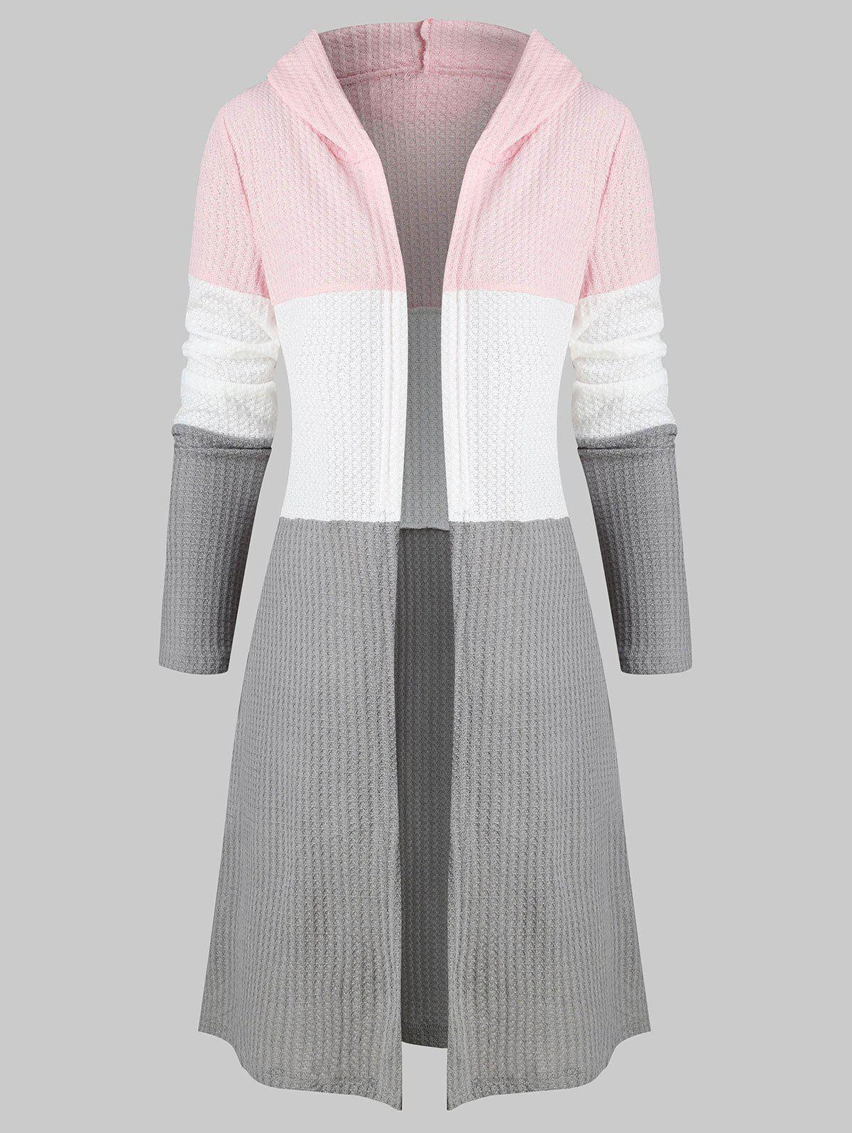 Online Colorblock Longline Hooded Cardigan