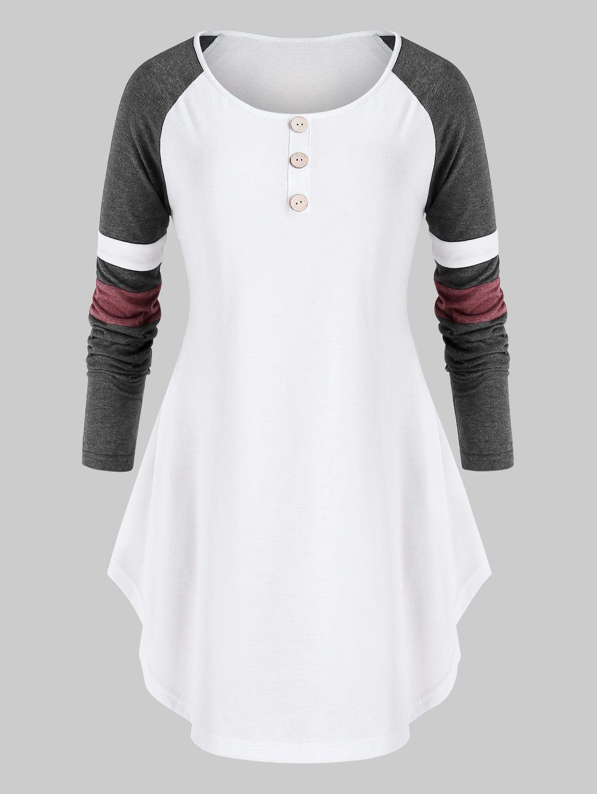 Fashion Plus Size Contrast Raglan Sleeve Curved T Shirt