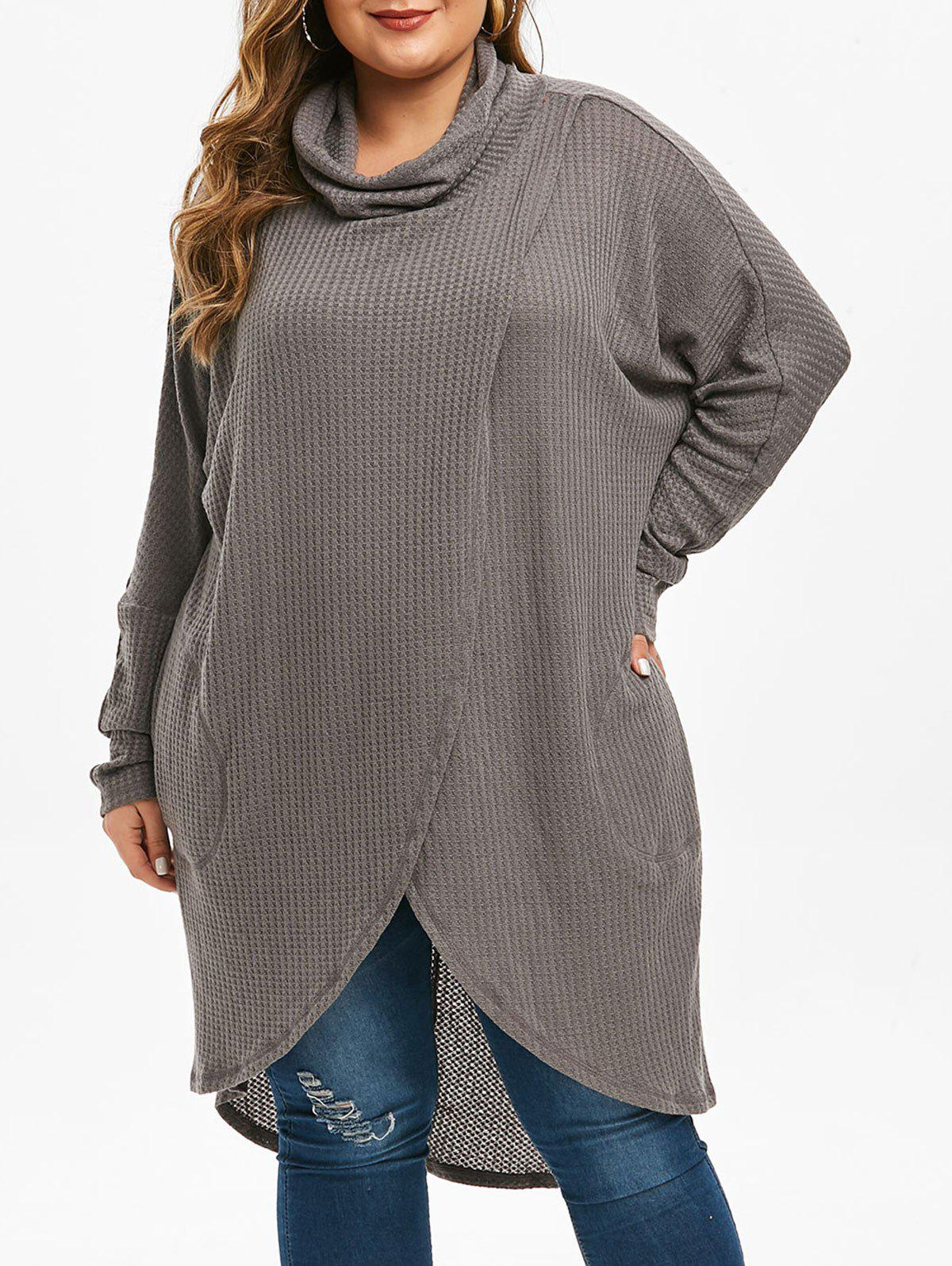 Unique Plus Size Cowl Neck  High Low Long Tulip Knitwear
