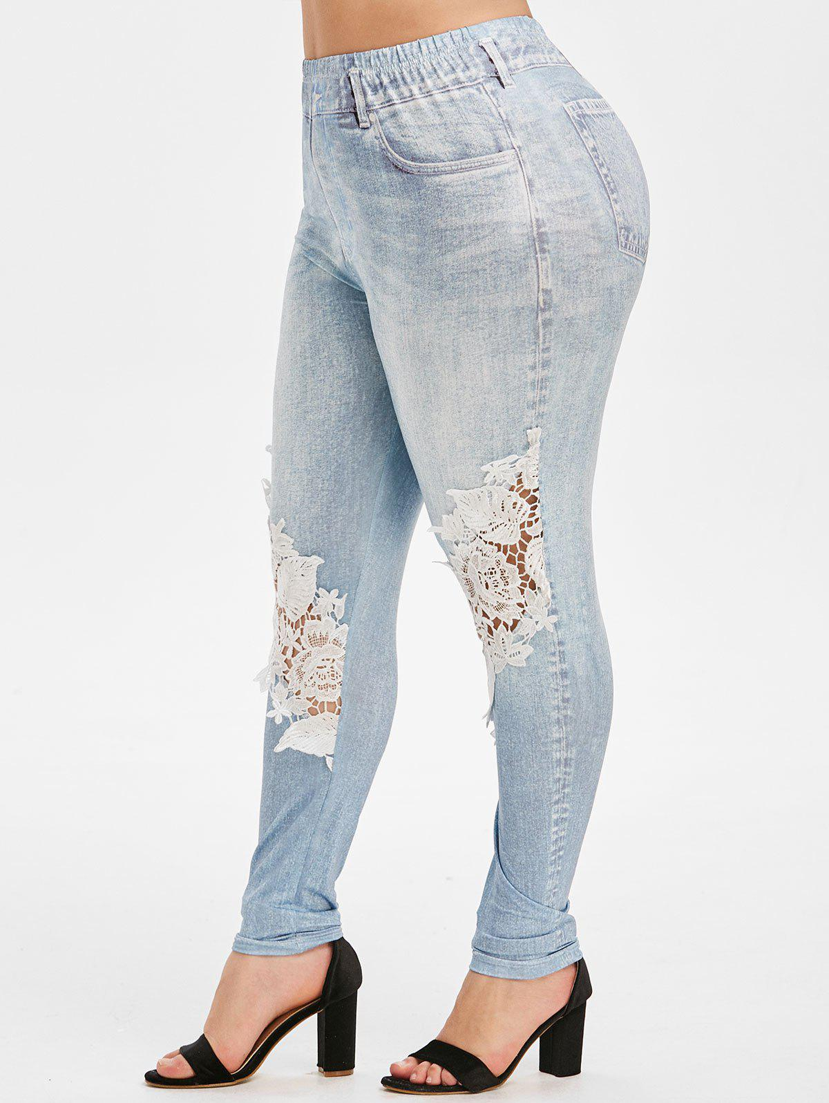 Chic High Waisted Printed Lace Patched Plus Size Jeggings