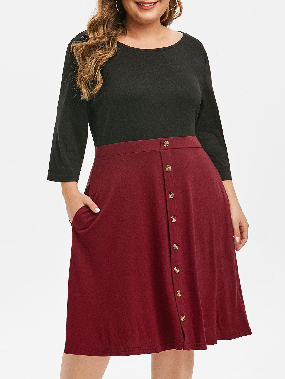 Trendy Plus Size Two Tone Button Embellished Dress