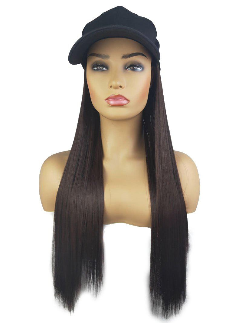 Trendy Peaked Hat Integrated Long Straight Synthetic Wig