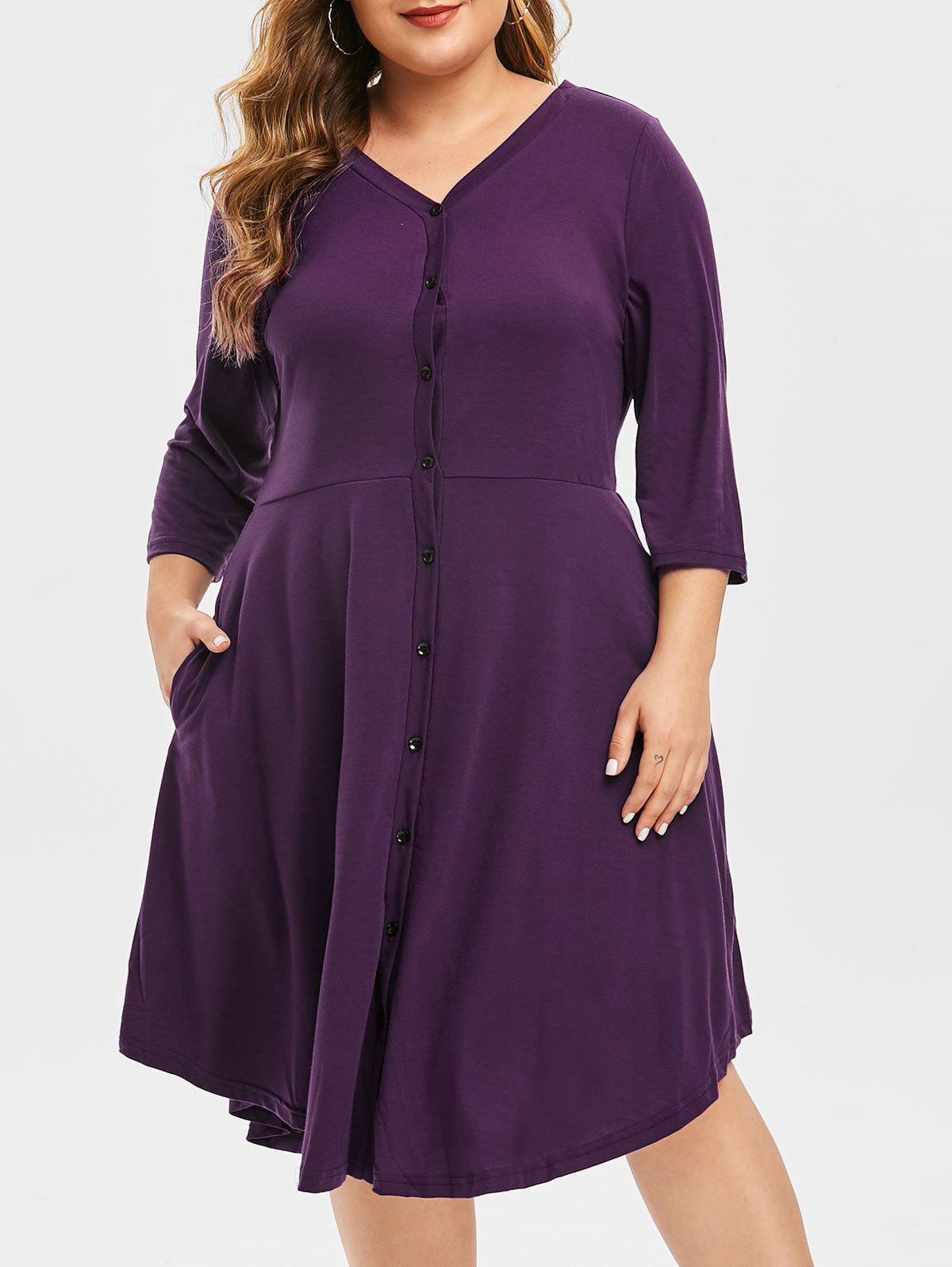 Trendy Plus Size Button Through V Neck Dress