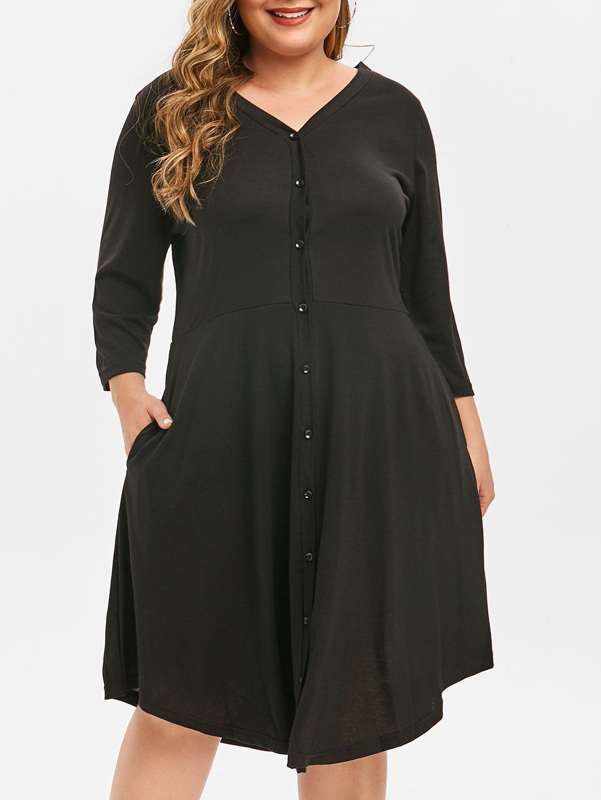 Unique Plus Size Button Through V Neck Dress