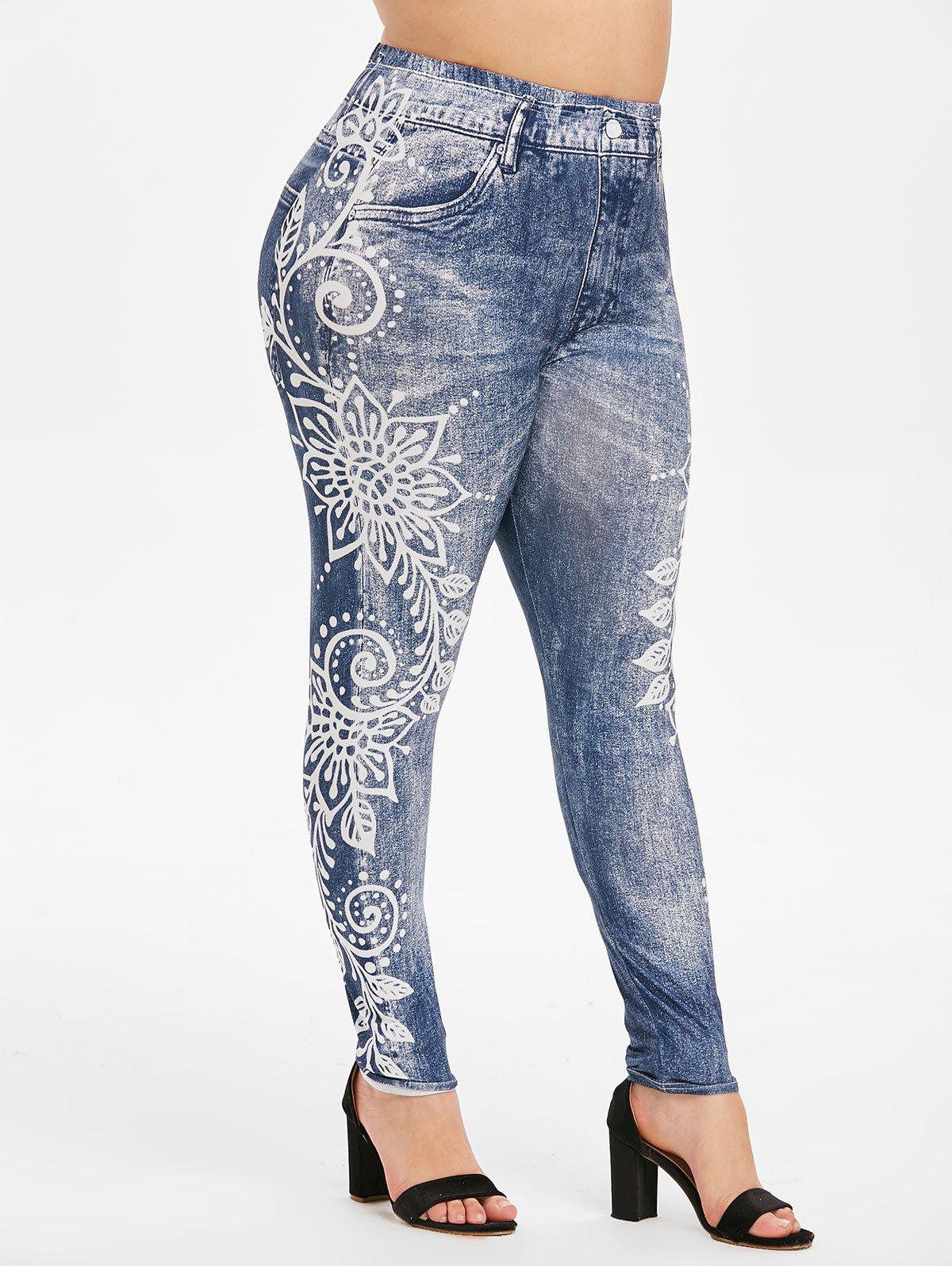 Hot Pull On High Waisted Printed Plus Size Jeggings