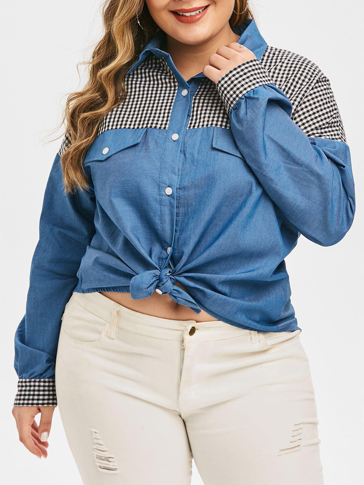 New Plus Size Front Knot Chambray Checked Shirt