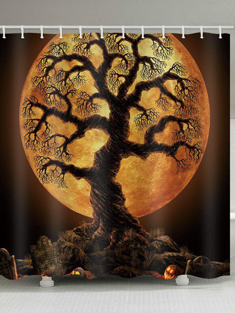 Rideau de douche imperméable à l'eau Halloween Tree Moon Night Print Orange Halloween Largeur 71 x Longueur 71 pouces