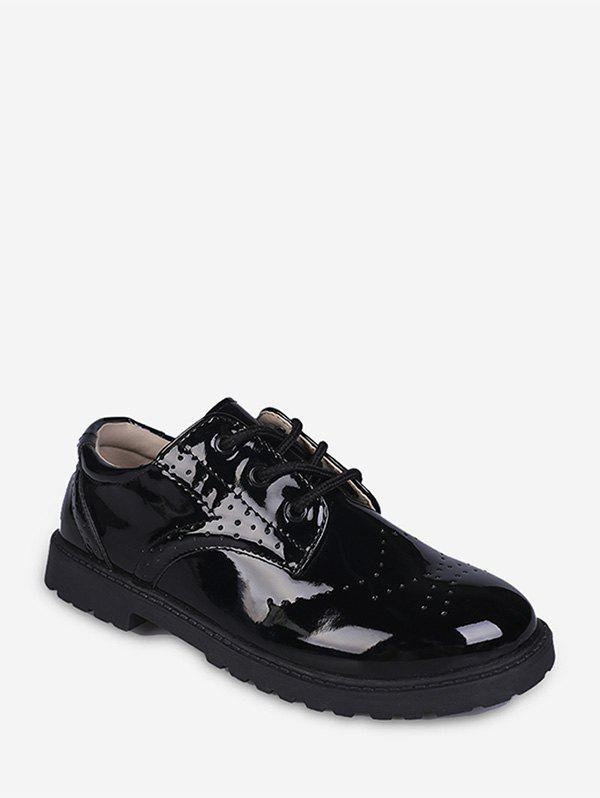 Trendy Wingtip Patent Leather Round Toe Shoes