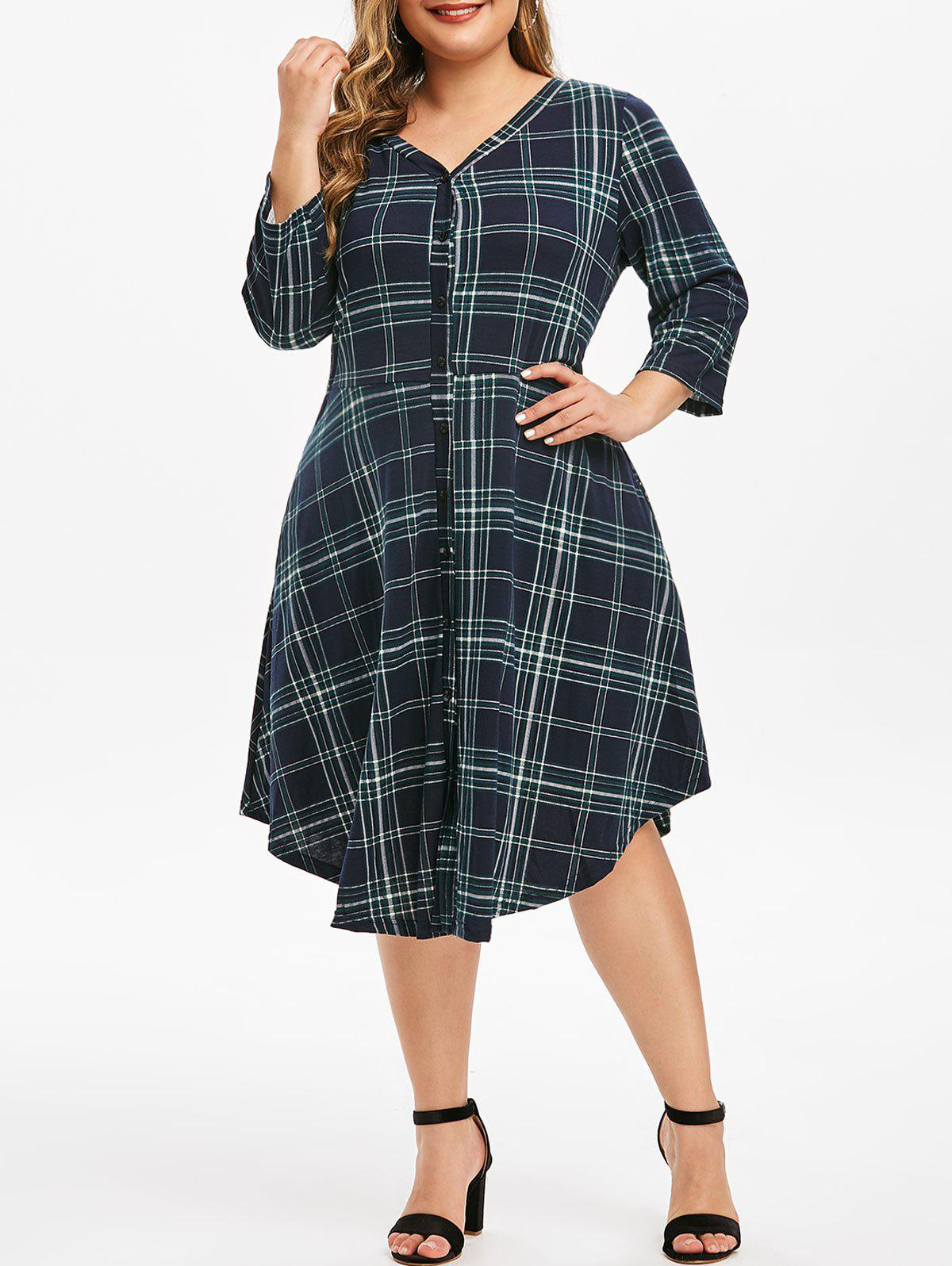 Plus Size Plaid Button Up V Neck Dress