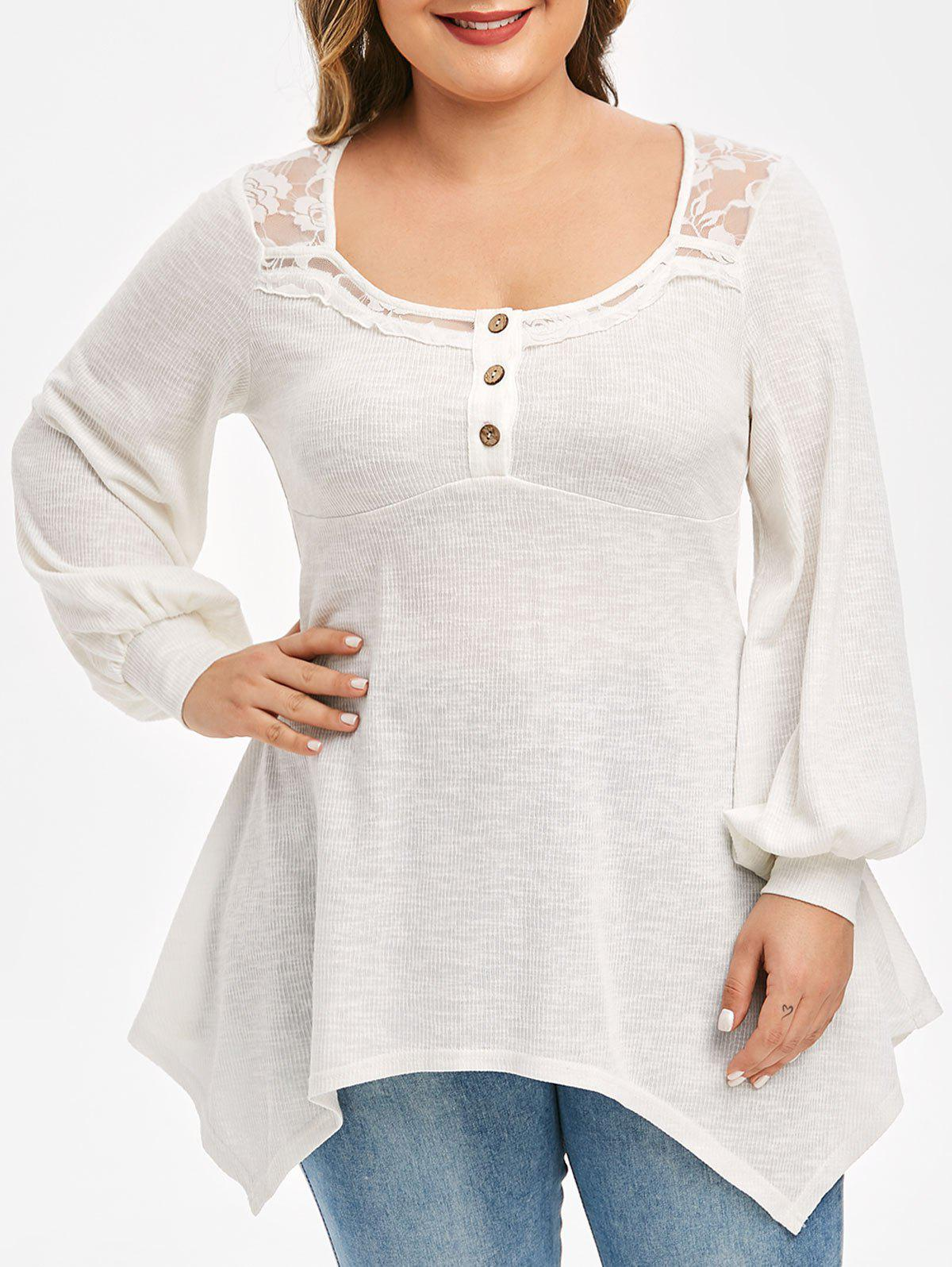 Plus Size Handkerchief Lace Panel Puff Sleeve Top фото