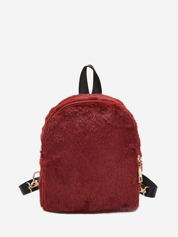 Trendy Solid Faux Fur Mini Teddy Backpack