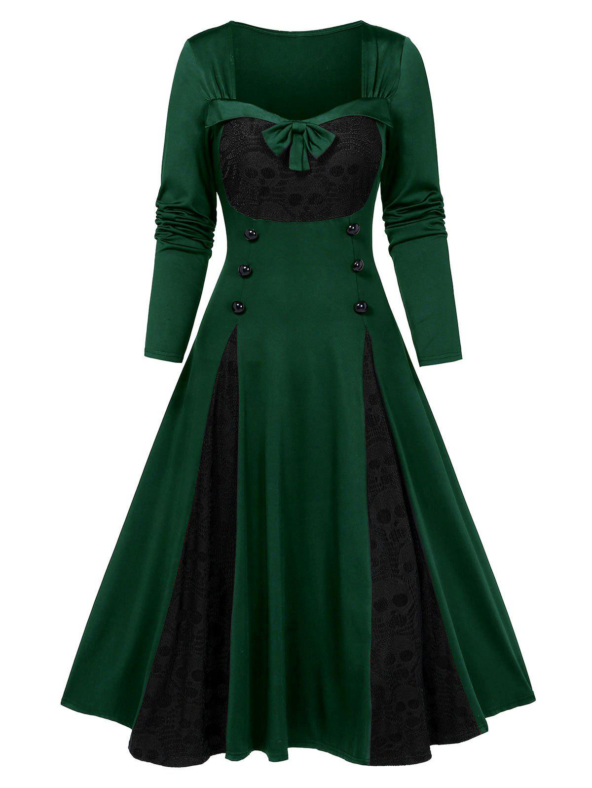 Affordable Halloween Skull Lace Insert Long Sleeve Mock Button Dress
