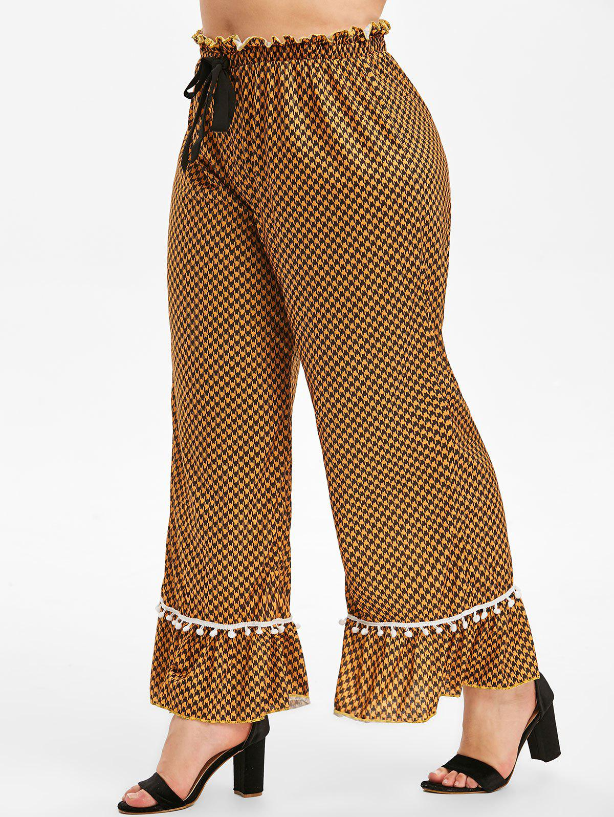 Buy Plus Size Houndstooth Flounce Palazzo Pants