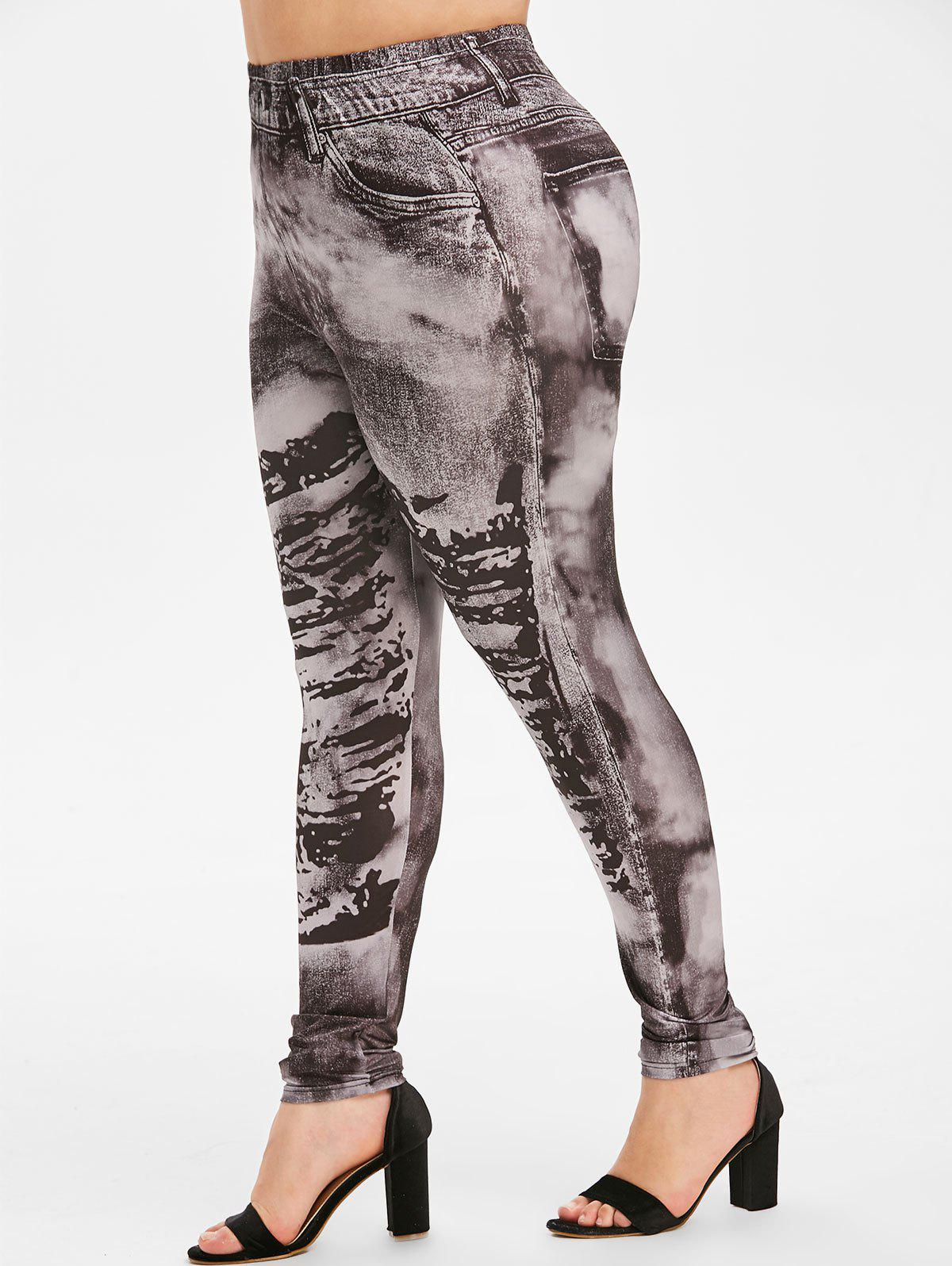 Unique Pull On Faded 3D Printed High Waisted Plus Size Jeggings