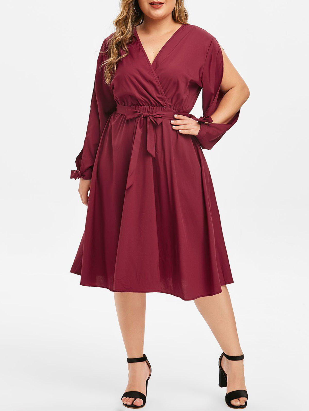 Plus Size Low Cut Split Sleeve Surplice Dress