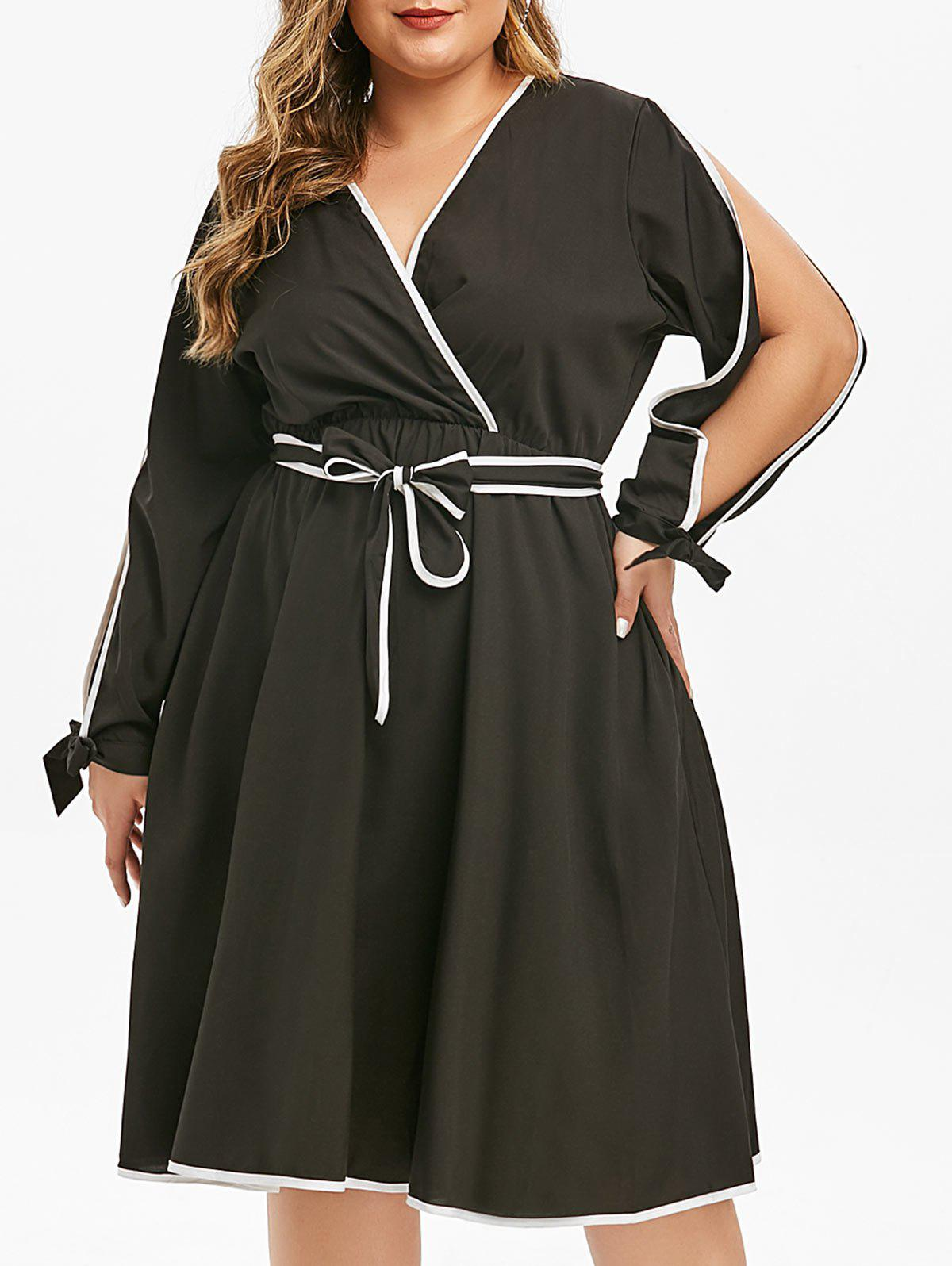 Outfits Plus Size Plunge Split Sleeve Contrast Trim Surplice Dress