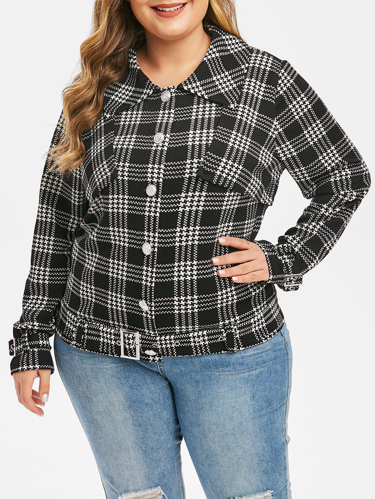 Discount Plus Size Button Up Belt Houndstooth Jacket