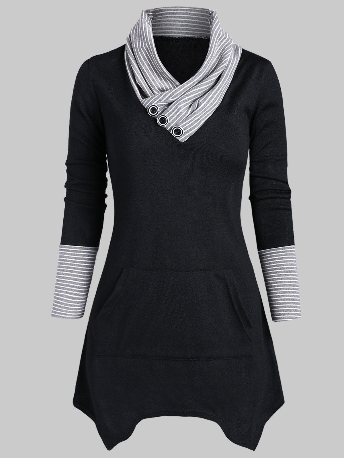 Sale Striped Mock Button Asymmetrical Knitwear