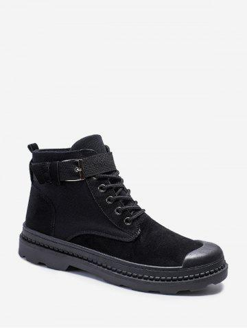 Buckle Strap Cargo Ankle Boots