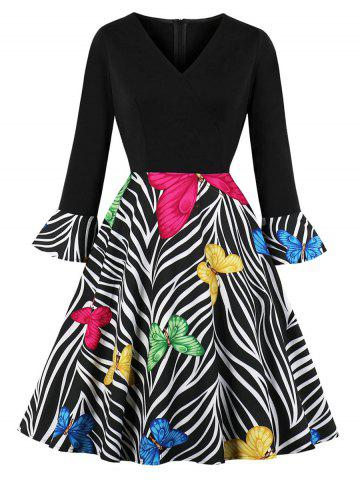 V Neck Butterfly Zebra Print Fit and Flare Dress