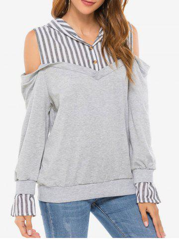 Striped Panel Marled Cold Shoulder Hoodie