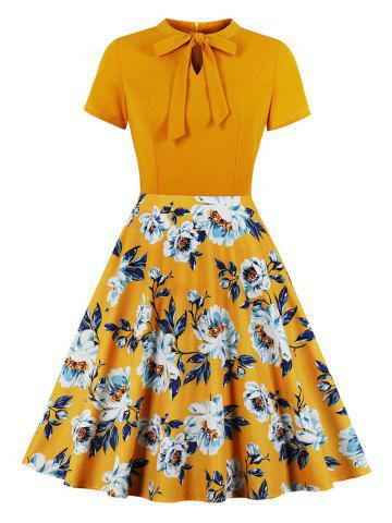 Floral Pussy Bow Fit and Flare Dress
