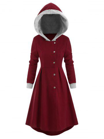 Snap Button Fur Trim Hooded High Low Coat - RED WINE - XL