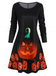 Long Sleeve Pumpkin Halloween Plus Size Mini Dress -