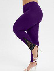 Plus Size Lace Panel Sheer High Waisted Leggings -