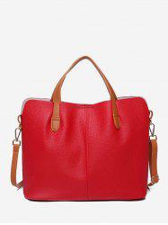 Contrast Trim Faux Leather Crossbody Bag -