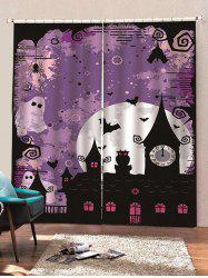 2 Panels Halloween Moon Night Castle Print Window Curtains -
