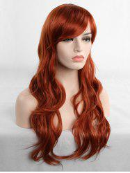 Long Inclined Fringe Wavy Cosplay Synthetic Wig -