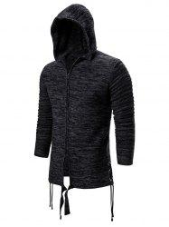 Solid Color Zip Up Hooded Cardigan -