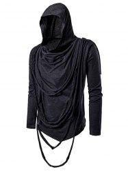 Solid Color Braided Rope Decoration Hoodie -