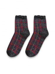 Vintage Plaid Metallic Quarter Length Socks -