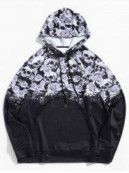 Plus Size Halloween Skull and Flower Print Kangaroo Pocket Pullover Hoodie -