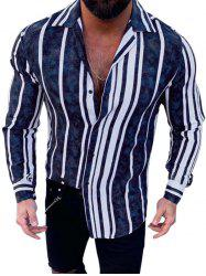 Stripes Print Long Sleeve Button Casual Shirt -