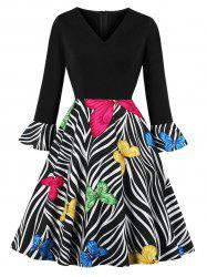 V Neck Butterfly Zebra Print Fit and Flare Dress -