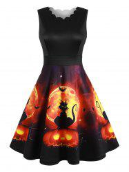 Halloween Cat Pumpkin Scalloped A Line Dress -
