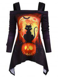 Halloween Cat Pumpkin Open Shoulder Asymmetrical T-shirt -