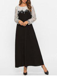Lace Yoke Long Sleeve Maxi Dress -