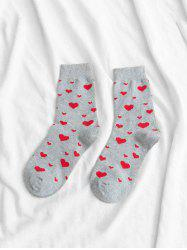 Cotton Heart Shape Crew Length Socks -