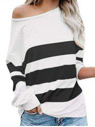 Skew Collar Colorblock Long Sleeve Top -