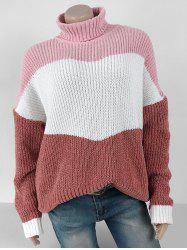 Turtleneck Contrast Chenille Knit Sweater -