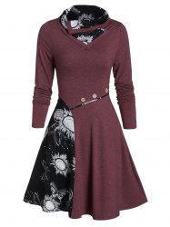 Turn-down Fit And Flare Butterfly Print Dress -