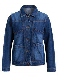 Plus Size Pockets Denim Jacket -