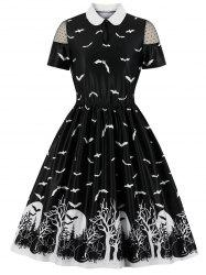 Bat Print Flat Collar Swiss Dot Panel Halloween Dress -